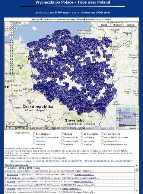 1891 miejsc w Polsce