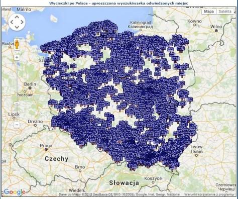 Mapa 2049 odwiedzonych miejsc