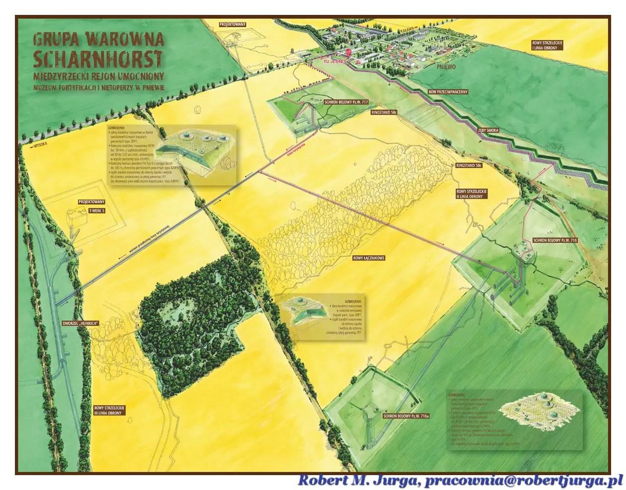 Mapa Pniewo - Muzeum Fortyfikacji i Nietoperzy - MRU - Robert M. Jurga