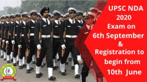 UPSC NDA 2020 Exam on 6th September & Registration