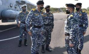 Naval Chief Admiral Karambir Singh arrives at INS Dwarka Operating Base in Gujarat