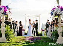 Purple Themed Hotel Del Wedding Flowers   Isari Flower Studio