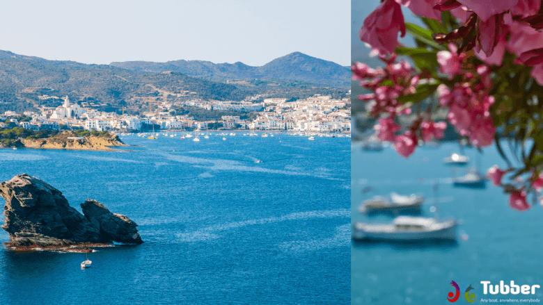 Aankomst in Cadaqués, een plaats op de vaarroute langs de oostkust van Spanje