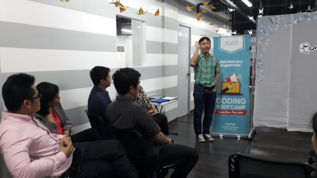 Tuitt's Co-Founder Tomohisa Kato giving the graduates some insights how relevant our graduates will be to the tech industry after the bootcamp.