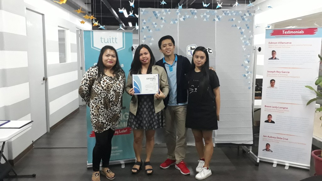 Racquel together with his mentor Sir Allan (Trainer), Miss Debbie (HR Supervisor), and Miss Angeli (Web Developer)