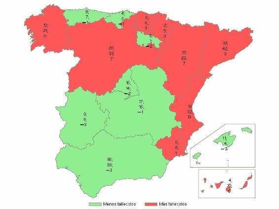 mapa  espana siniestro verano