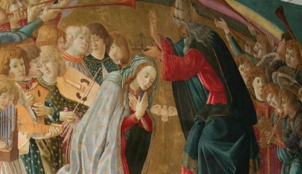 01 Botticelli, L'incoronazione della vergine, details © Quotianonet