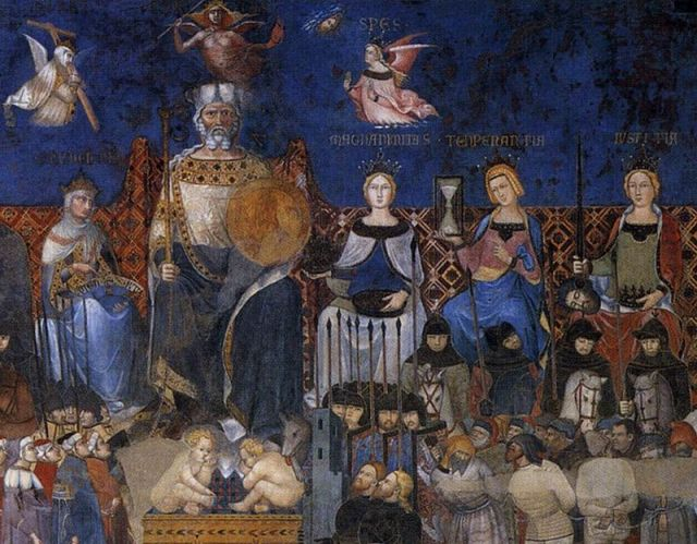 Ambrogio Lorenzetti, Allegory of Good Government, detail)