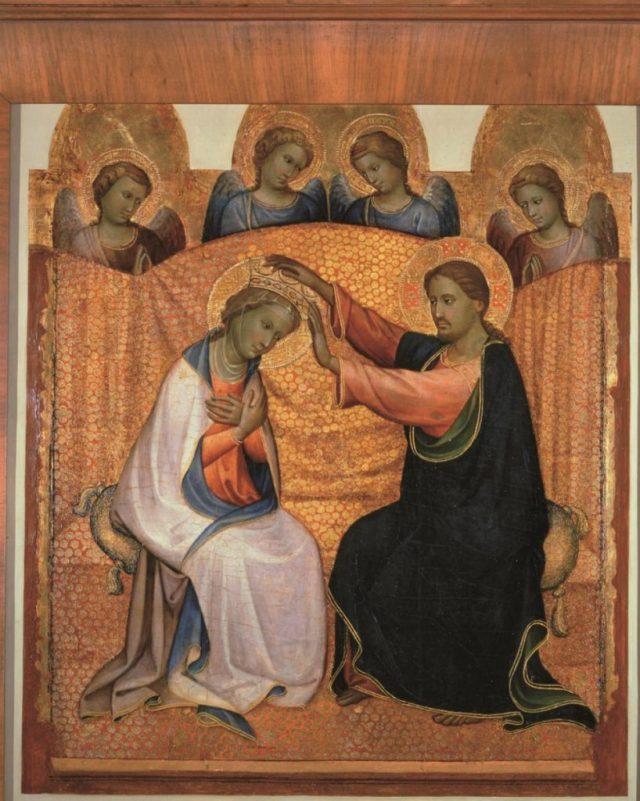 Coronation of the Virgin and Four Angels, Gherardo di Jacopo, aka Starnina, Galleria Nazionale di Parma