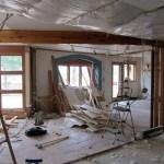 Piles of drywall debris