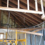 Scaffold holding attic rafters