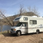 RV at the lakeside camp site.