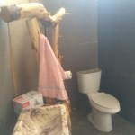 Toilet installed behind Polyiso walls