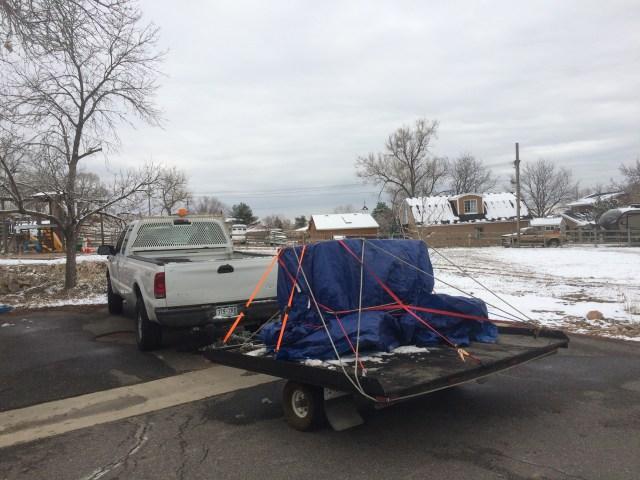Washer and Dryer loaded on tilt trailer