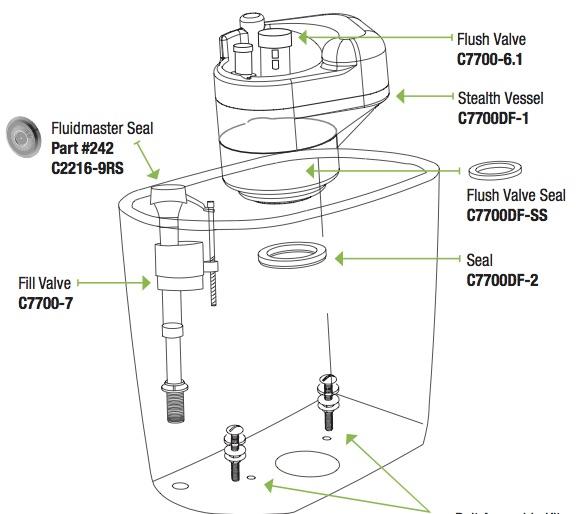 Stealth Dual Flush Tank Schematic