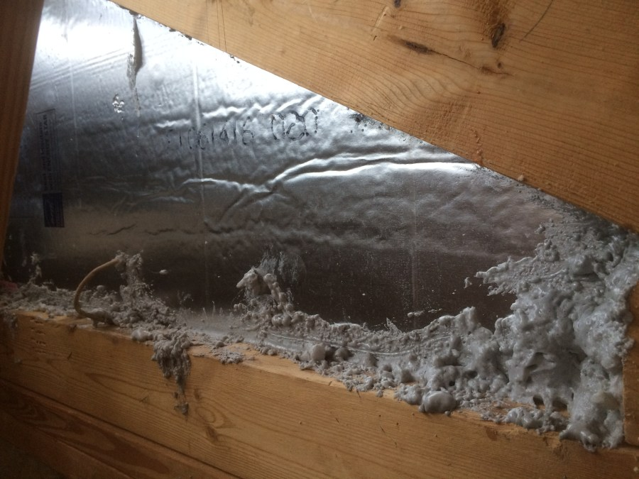 Spray foam sealing job