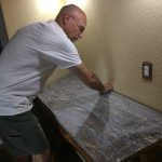 John placing the slab