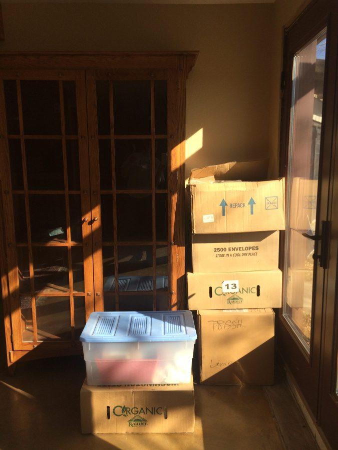 Boxes near second bookshelf