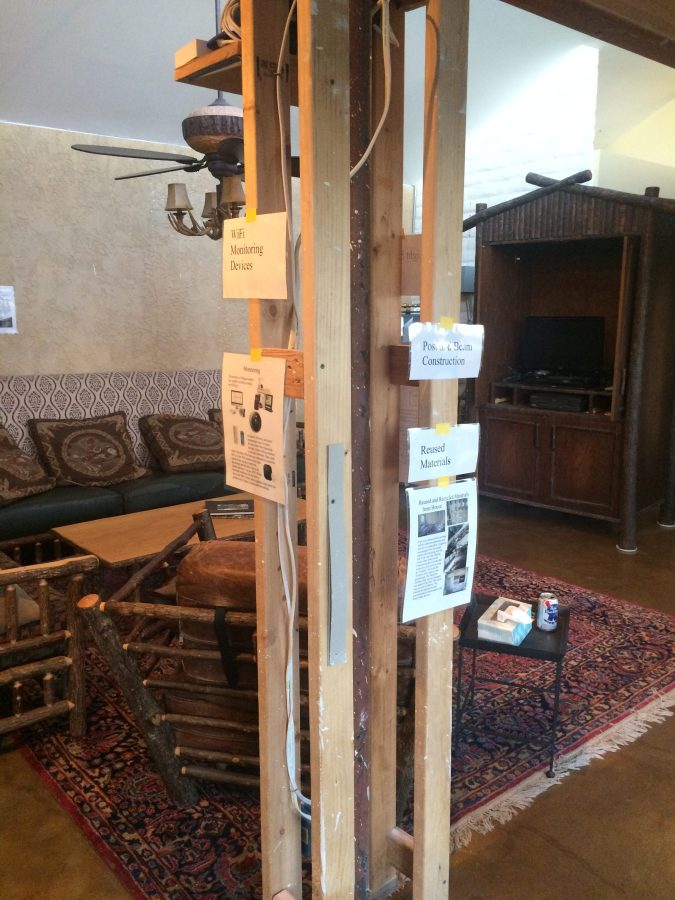 Signs on post in living room