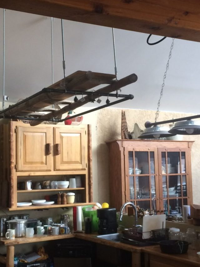 Ladder pot hanging shelf