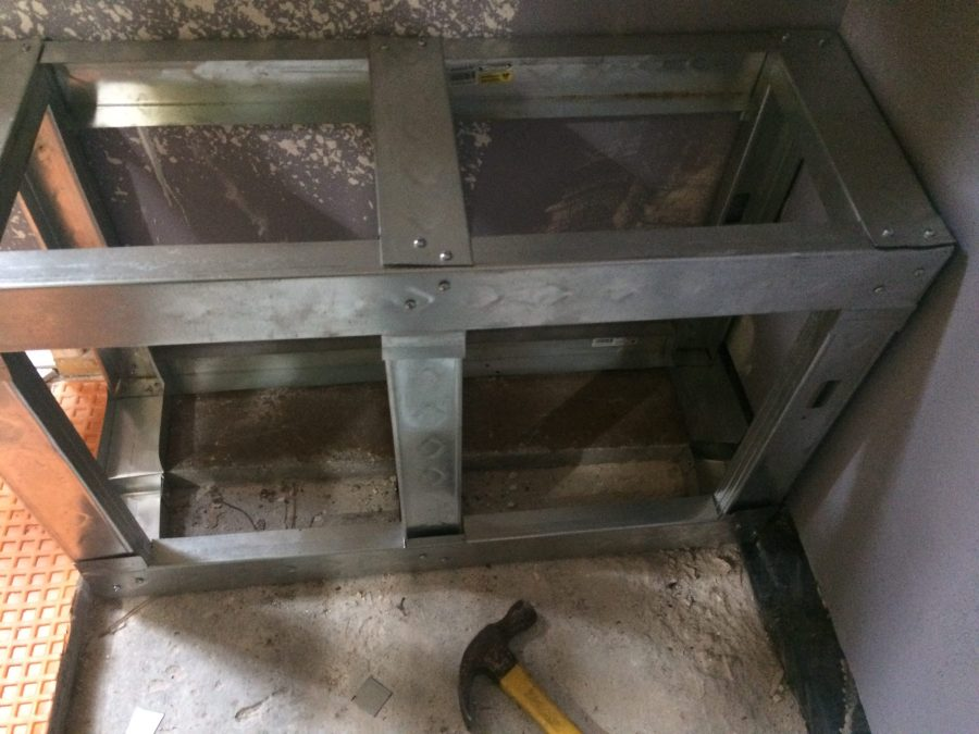 Bench from steel studs