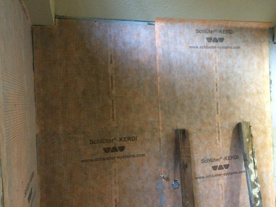 Scluter Kerdi applied to rear shower wall