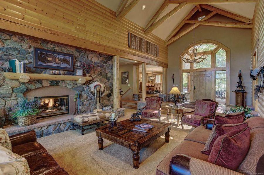 Log Home Living Room Mantel