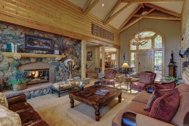 Log Home Living Room Mantel