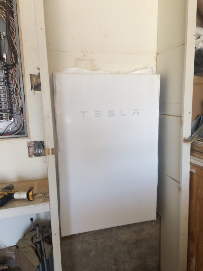 Battery powerwall in place