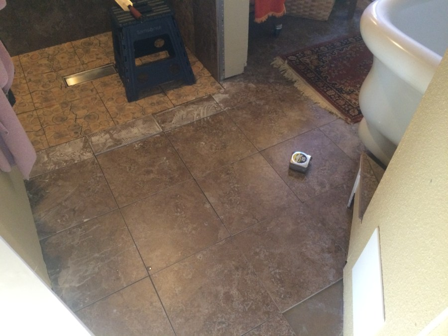 Tiles cut and fitted