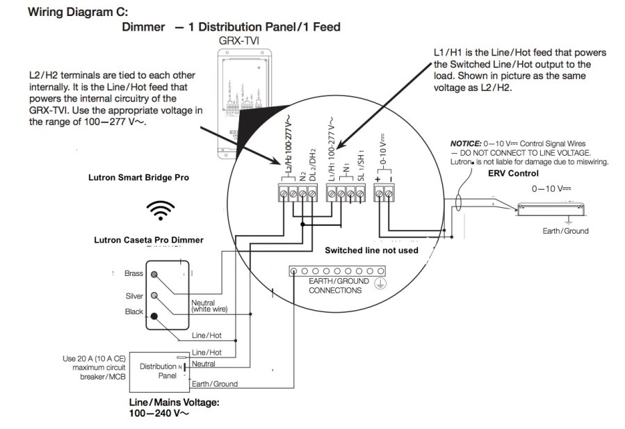 GRX-TVI Wiring Diagram With Dimmer and switch