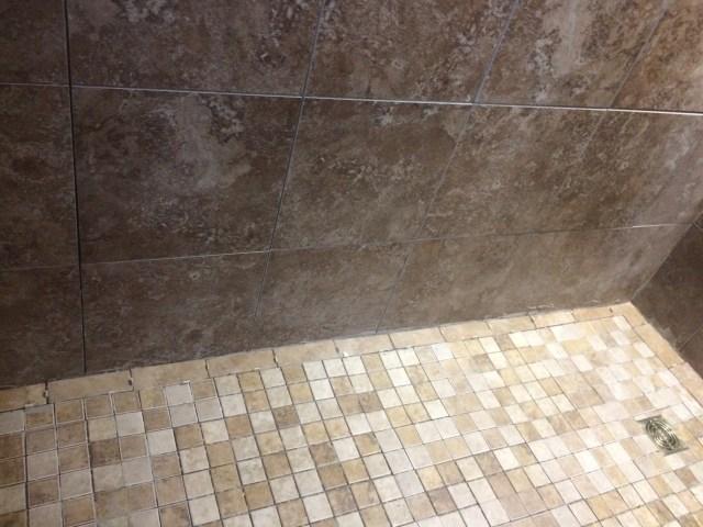 Floor along back wall mortared
