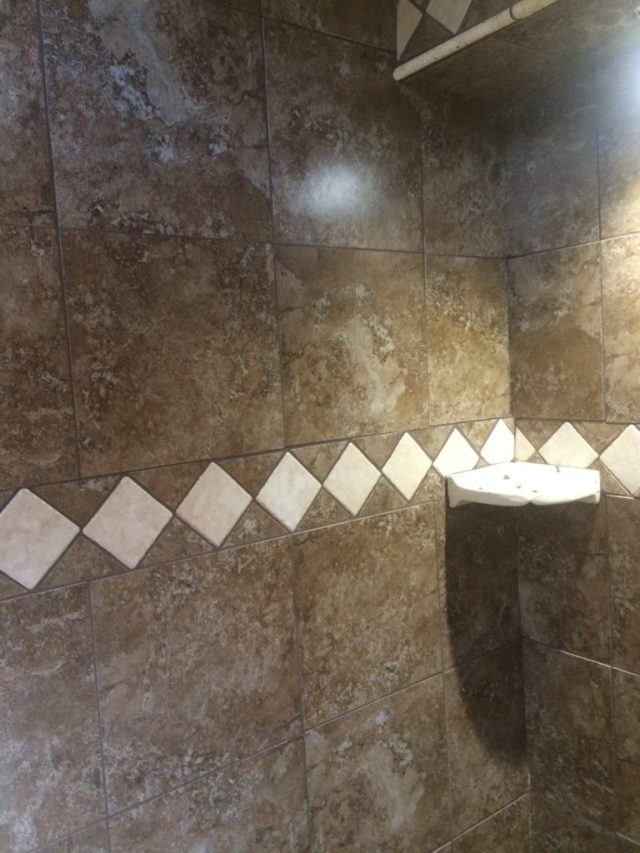 Decorative tile grouted first