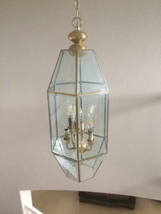 "Dated ""terrarium"" chandelier"