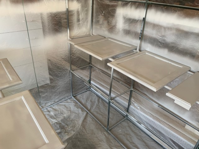 Spray booth with family bath doors.