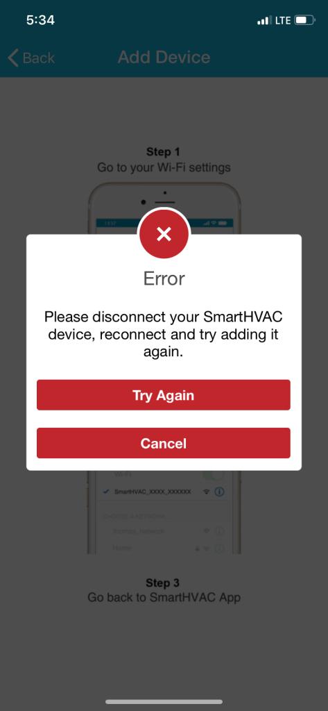 Mini split wifi error message