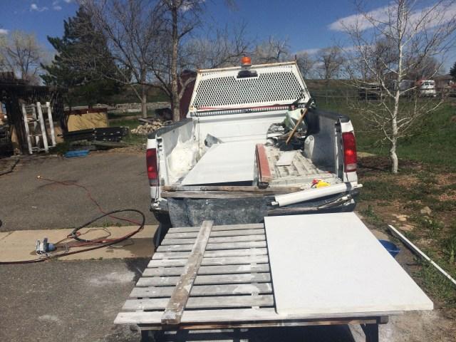 Quartz pieces slid out of the truck