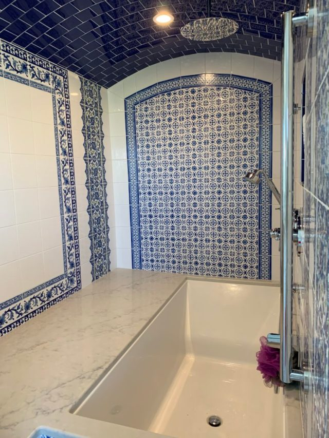Tile design in steam/tub room