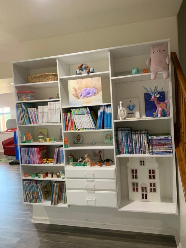 Kids playroom shelves