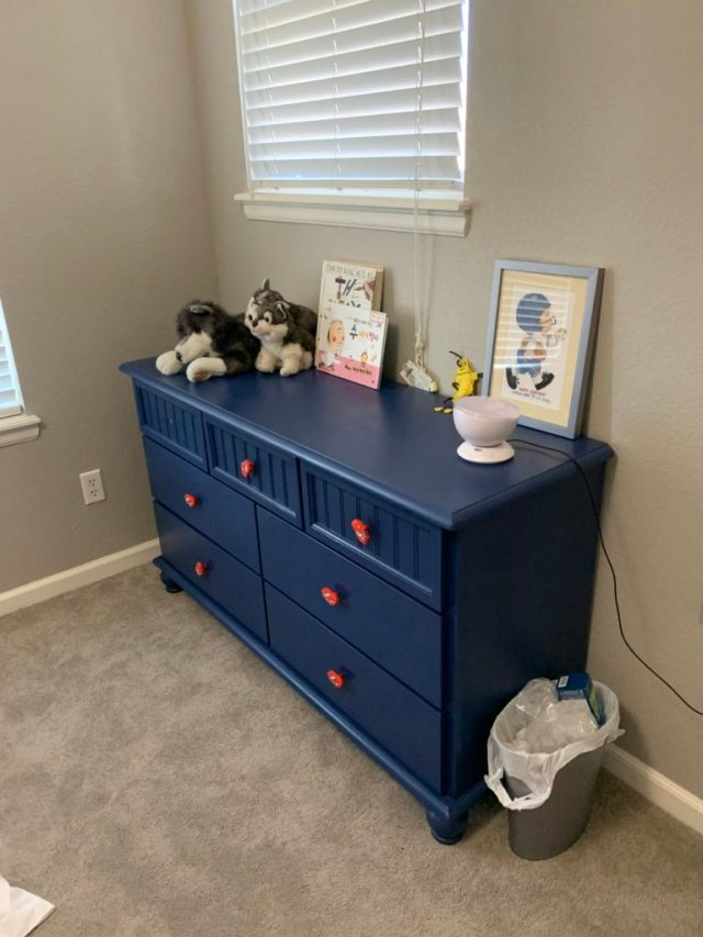 Finished dresser with Cars knobs