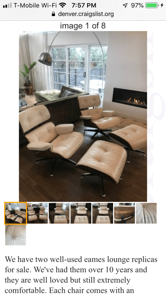 Eames style leather lounge chairs