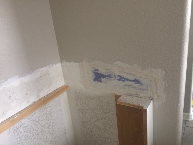 Wall fixed from tile removal