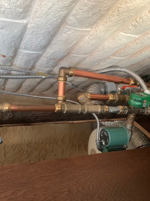 Pipes and wiring reconnected