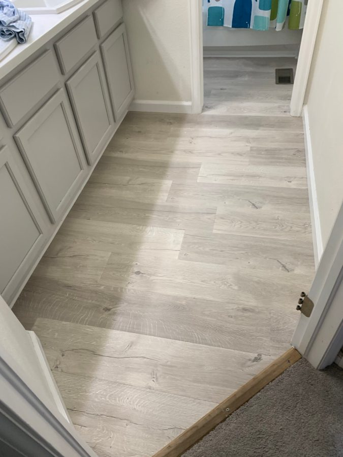 Finished floor with baseboards