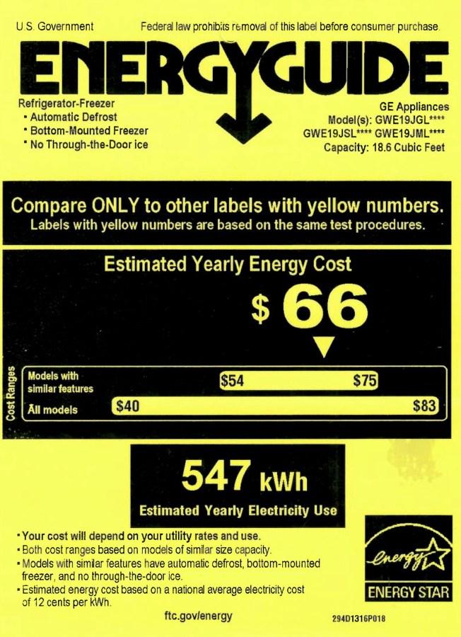 GE GWE19 Refrigerator Energy Guide