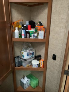 Bathroom cabinet with tall shelves
