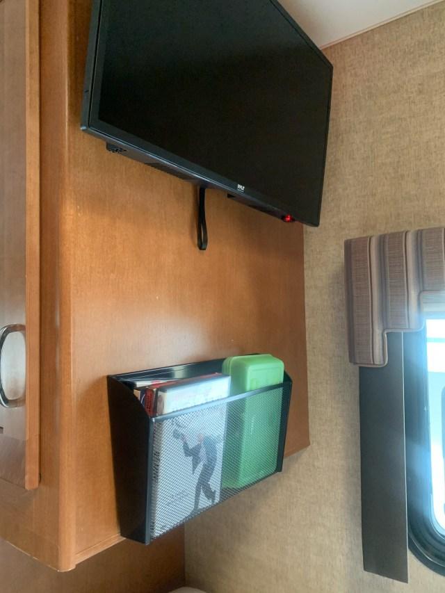 Locking TV mount and file folder basket