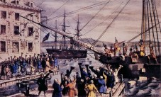 "The famous 1846 lithograph by Nathaniel Currier, ""The Destruction of Tea at Boston Harbor."""
