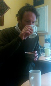 Richard taking the blind taste test. The tea-squeeze challenge.