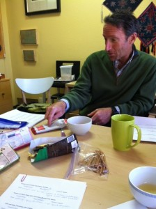 Richard makes an emphatic point about the Spicy Maya chocolate. Wish we could remember what it was ...